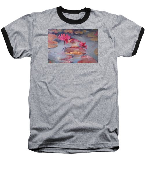 Pink Waterlilies Baseball T-Shirt