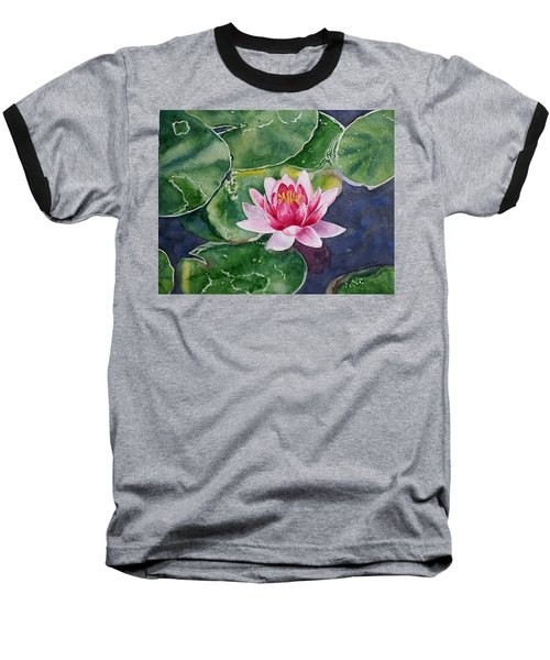 Pink Waterlily Baseball T-Shirt