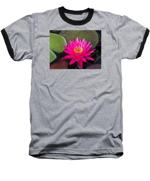 Pink Waterlily Garden Baseball T-Shirt