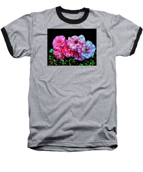 Baseball T-Shirt featuring the photograph Pink - White Roses  by Sadie Reneau