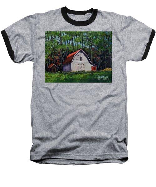 Baseball T-Shirt featuring the painting Pinson Barn At Harrison Park by Jan Dappen