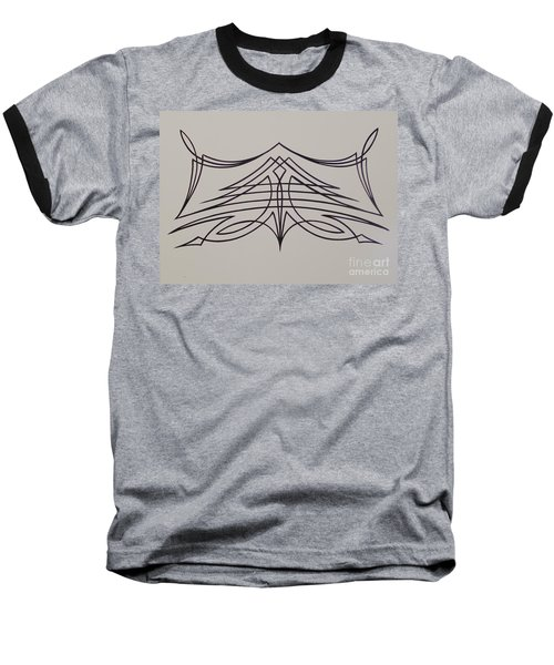 Pinstripe Black On White Baseball T-Shirt by Alan Johnson