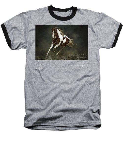 Pinto Horse In Motion Baseball T-Shirt