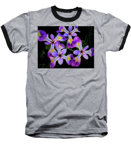 Pinwheel Purple Iris Glow Baseball T-Shirt by Penny Lisowski