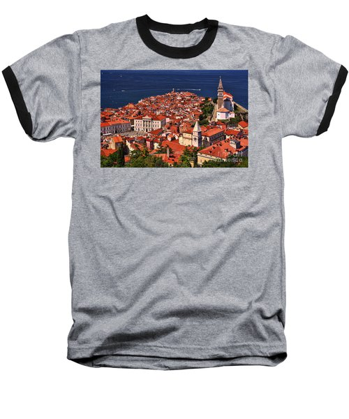 Piran From The Castle Wall Baseball T-Shirt by Graham Hawcroft pixsellpix