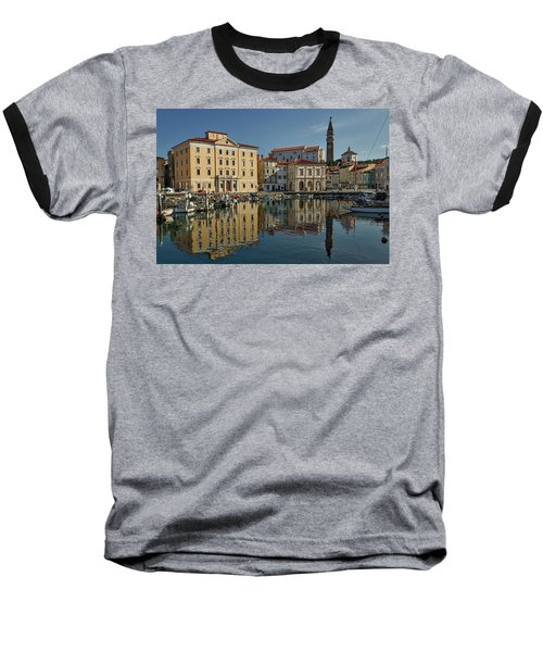 Baseball T-Shirt featuring the photograph Piran Marina Reflections #2 by Stuart Litoff