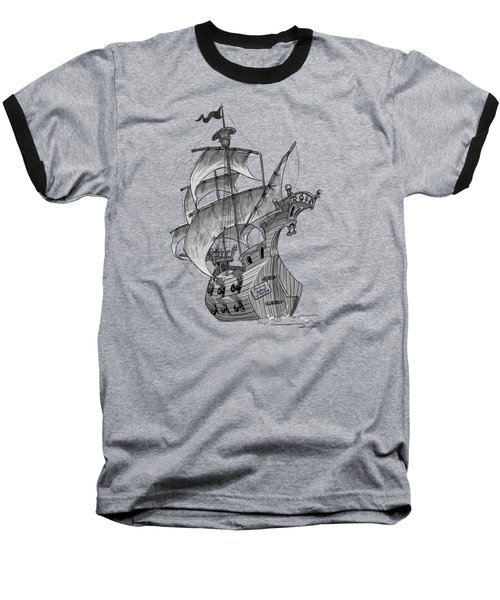 Pirate Ship Baseball T-Shirt by Andy Catling