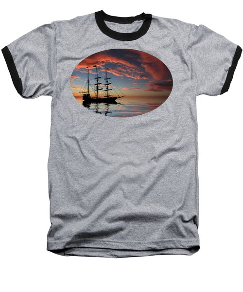 Pirate Ship At Sunset Baseball T-Shirt