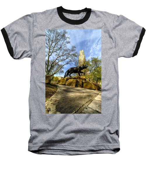 Pitt Panther Cathedral Of Learning Baseball T-Shirt by Thomas R Fletcher