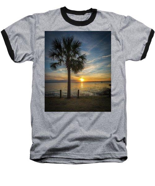 Pitt Street Bridge Palmetto Tree Sunset Baseball T-Shirt
