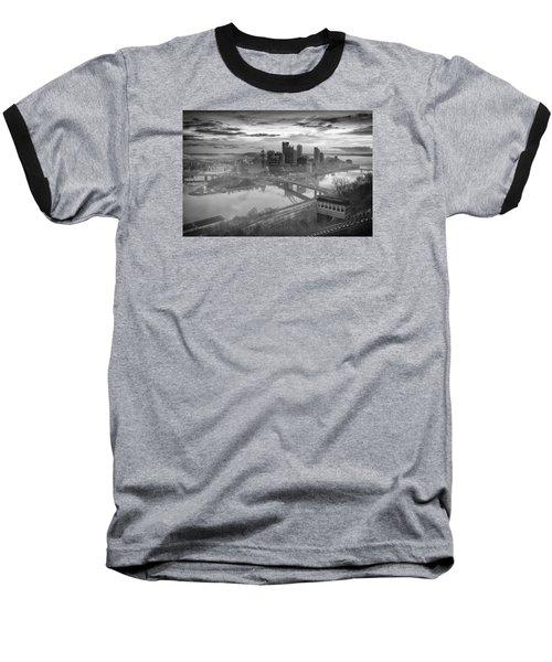 Pittsburgh Architecture 10 Bw Baseball T-Shirt by Emmanuel Panagiotakis