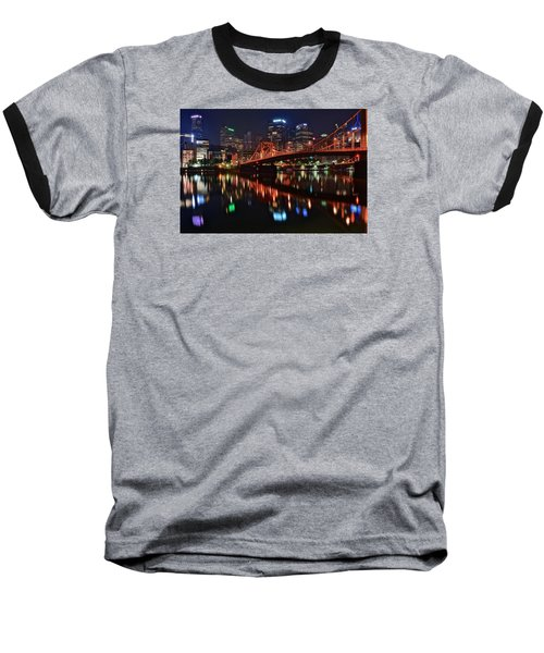 Pittsburgh Lights Baseball T-Shirt by Frozen in Time Fine Art Photography