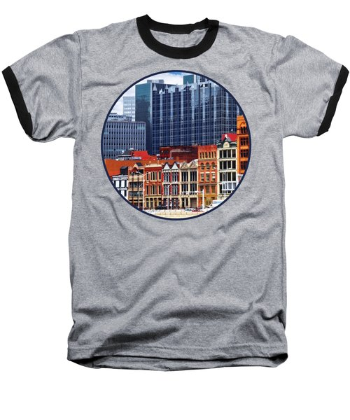 Pittsburgh Pa Skyline Closeup Baseball T-Shirt