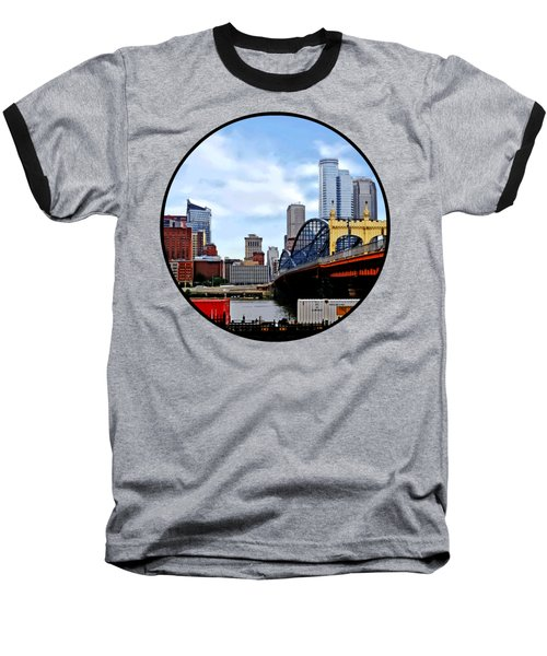 Pittsburgh Pa - Train By Smithfield St Bridge Baseball T-Shirt by Susan Savad