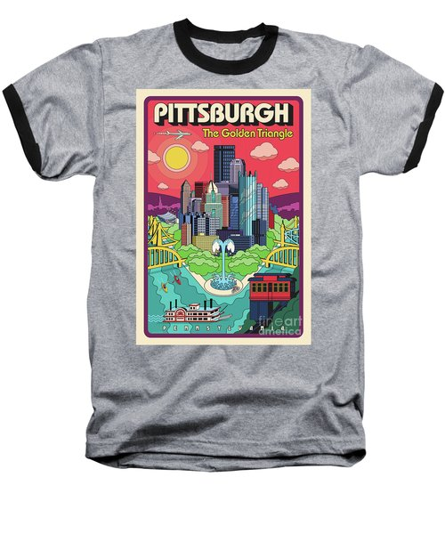 Pittsburgh Pop Art Travel Poster Baseball T-Shirt