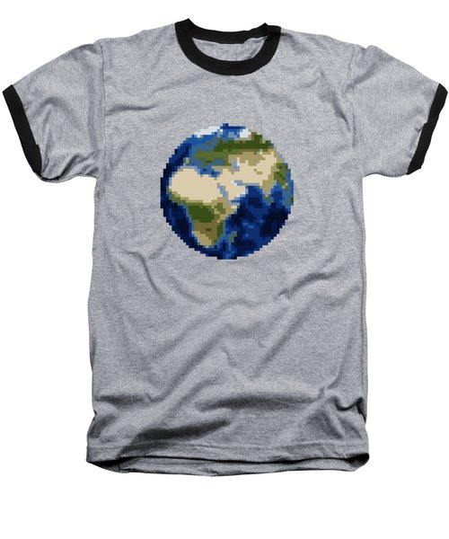 Pixel Earth Design Baseball T-Shirt