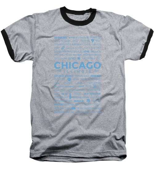 Places Of Chicago Blue On Black Baseball T-Shirt by Christopher Arndt