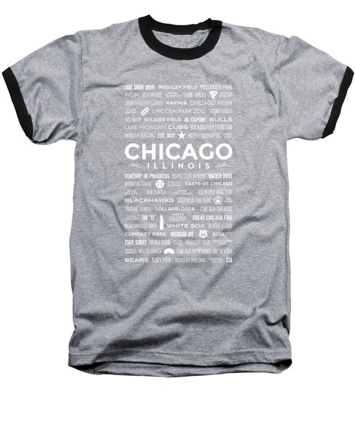 Baseball T-Shirt featuring the digital art Places Of Chicago On Black Chalkboard by Christopher Arndt