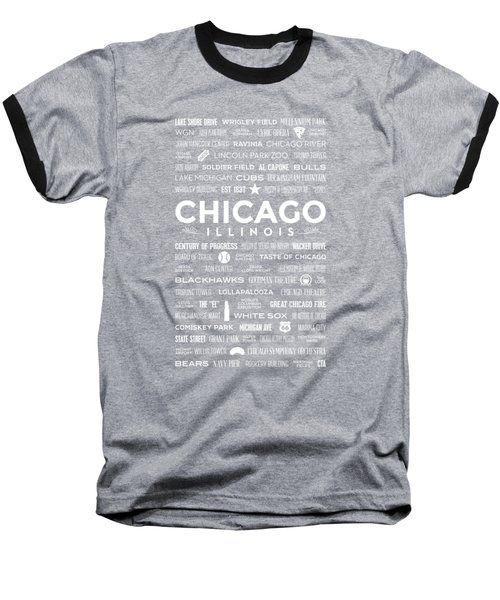 Baseball T-Shirt featuring the digital art Places Of Chicago On Blue Chalkboard by Christopher Arndt