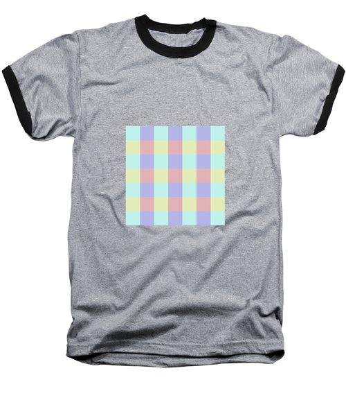Plaid Blue Soft Yellow Rose Blush Lavender Cyan Tetradic Colour Blocks Baseball T-Shirt
