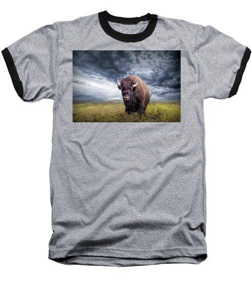 Plains Buffalo On The Prairie Baseball T-Shirt