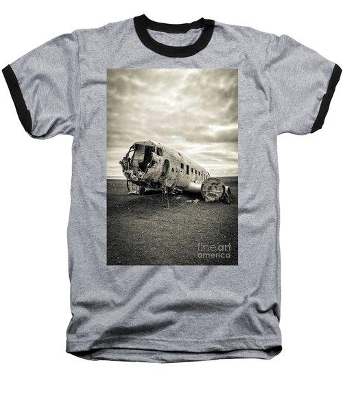 Baseball T-Shirt featuring the photograph Plane Crash Iceland by Edward Fielding