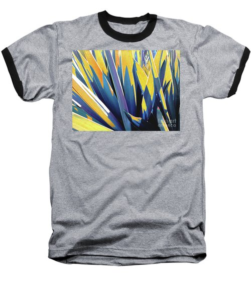 Plant Burst - Yellow Baseball T-Shirt by Rebecca Harman