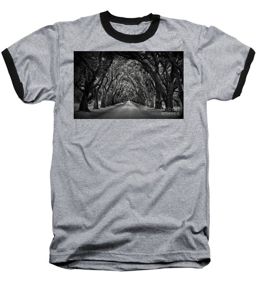 Plantation Oak Alley Baseball T-Shirt by Perry Webster