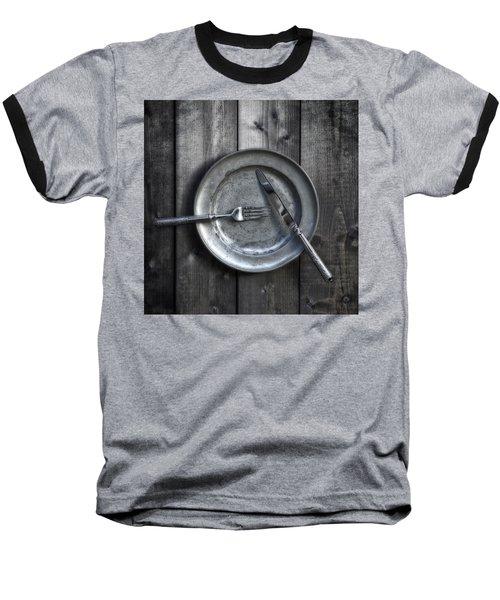 Plate With Silverware Baseball T-Shirt