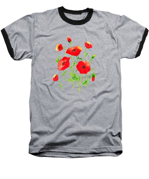 Playful Poppy Flowers Baseball T-Shirt