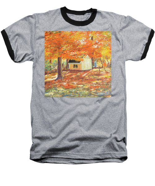 Baseball T-Shirt featuring the painting Playhouse In Autumn by Carol L Miller