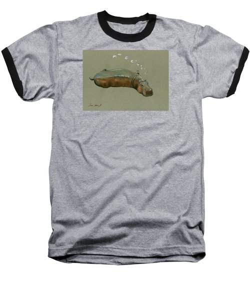 Playing Hippo Baseball T-Shirt by Juan  Bosco