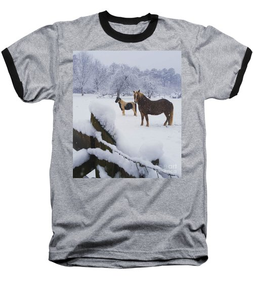 Playing In The Snow Baseball T-Shirt