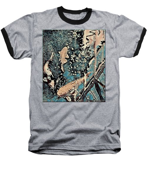 Baseball T-Shirt featuring the digital art Playing It Koi by Mindy Newman