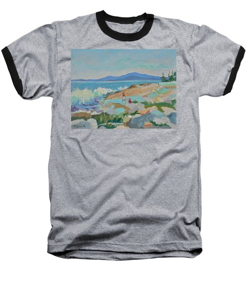 Baseball T-Shirt featuring the painting Playing On Schoodic Rocks by Francine Frank