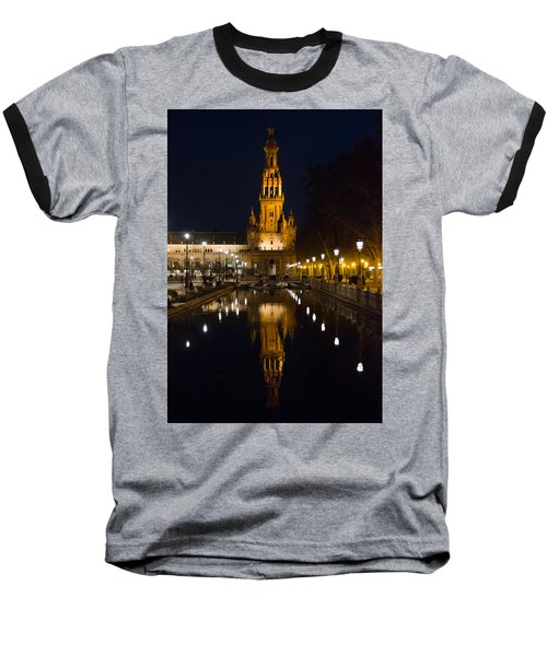 Plaza De Espana At Night - Seville 6 Baseball T-Shirt