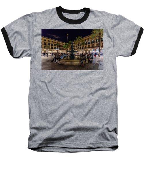 Plaza Reial Baseball T-Shirt by Randy Scherkenbach