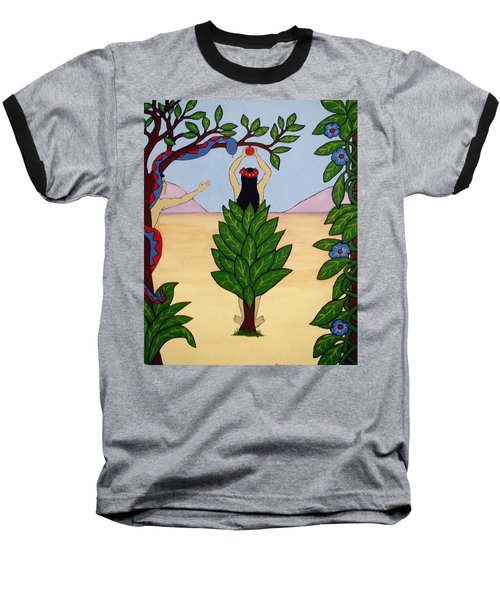 Baseball T-Shirt featuring the painting Please Don't Pick That Apple by Stephanie Moore
