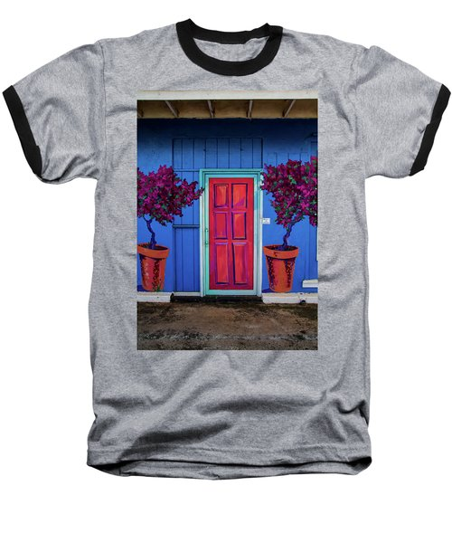 Please Use Other Door Baseball T-Shirt by Roger Mullenhour
