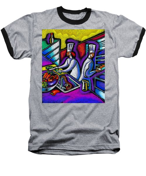 Baseball T-Shirt featuring the painting  Pleasure Of The Food Preparation by Leon Zernitsky