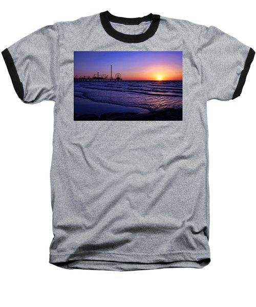 Pleasure Pier Sunrise Baseball T-Shirt by Judy Vincent