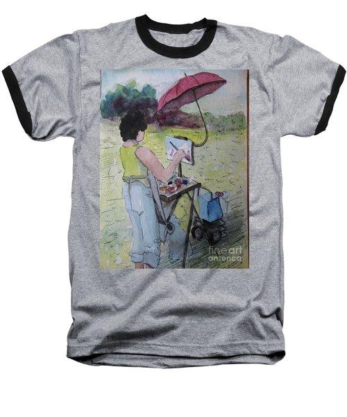 Baseball T-Shirt featuring the painting Plein-air Artist Sandra by Gretchen Allen