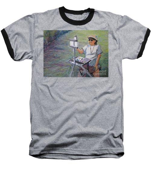 Baseball T-Shirt featuring the painting Plein-air Painter Bj by Gretchen Allen