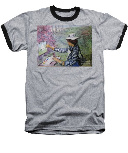 Baseball T-Shirt featuring the painting Plein-air Painter  by Gretchen Allen