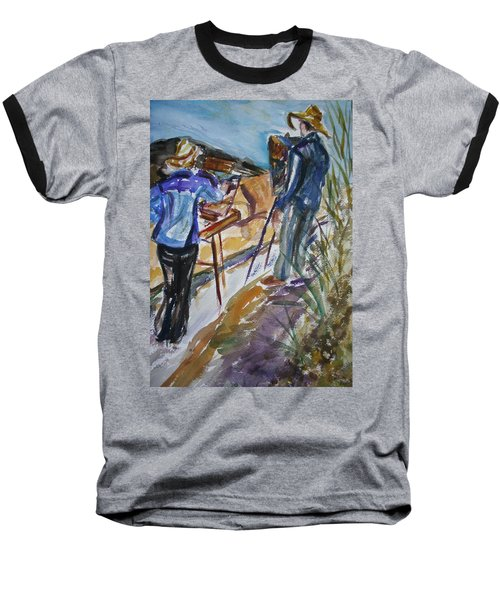 Plein Air Painters - Original Watercolor Baseball T-Shirt