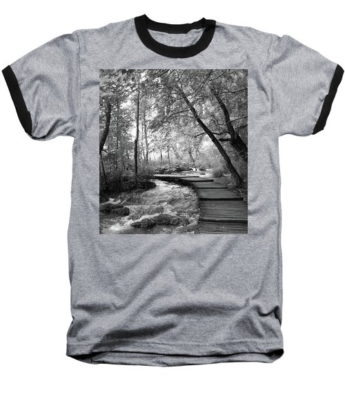 Plitvice In Black And White Baseball T-Shirt