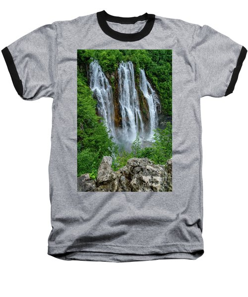 Plitvice Lakes Waterfall - A Balkan Wonder In Croatia Baseball T-Shirt