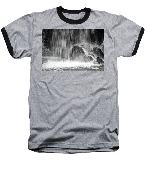 Plitvice Waterfall Black And White Closeup - Plitivice Lakes National Park, Croatia Baseball T-Shirt