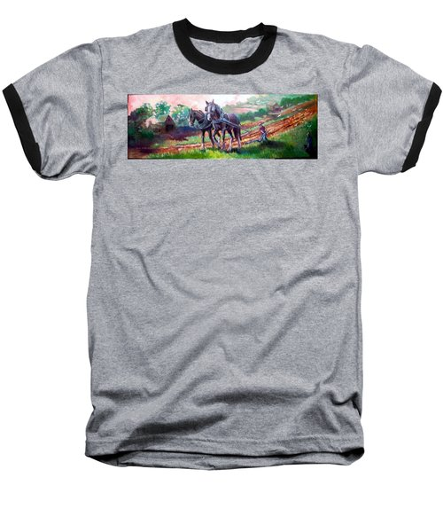 Ploughing Baseball T-Shirt by Paul Weerasekera