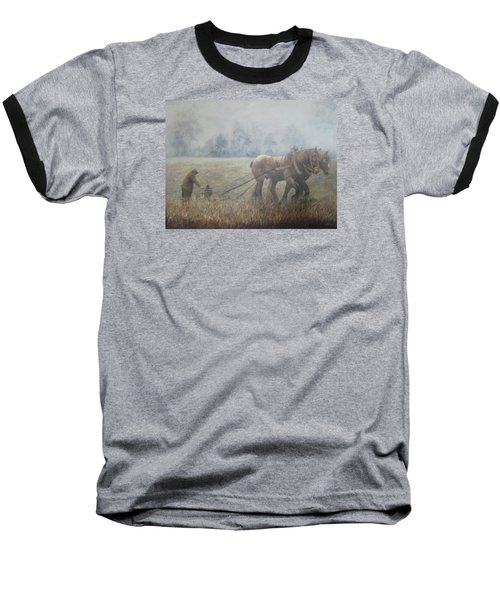 Plowing It The Old Way Baseball T-Shirt by Donna Tucker